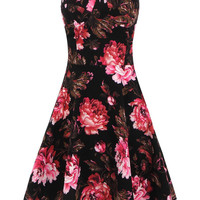 Black Bandeau Swing Dress With Floral Print