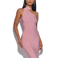 Joni Choker Detail Pink Asymmetric Bandage Dress