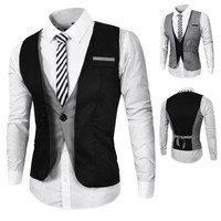 Two Layered Design One Button Men's Vest
