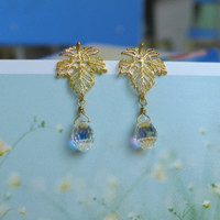 Elegant Golden Leaf & Austrian Crystal Earrings