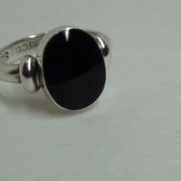 Sterling Silver 925 Ring with Embedded Black Onyx Center Stone
