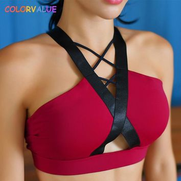 Colorvalue Chic Front Cross Yoga Bra Women Sexy Padded Running Gym Bra Anti-sweat Push Up Fitness Top Athletic Sport Bra Top