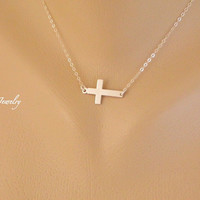 Sideways Cross Necklace, Charm Pendant Necklace, Religious Necklace, Sister Necklace, Girls, Mother, Celebrity Necklace