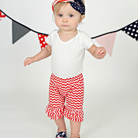 Red & White Chevron Double Ruffle Shorties Shorts - Infant & Baby Sizes!