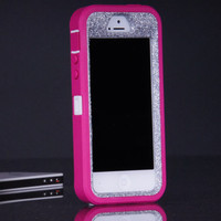 iPhone 5 / 5S Otterbox Defender Case - Pink/Silver Glitter iPhone 5 / 5S Case - Sparkly Glitter Bling iPhone 5 / 5s Cover