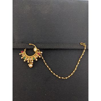 Traditional Teardrop design clip on nose ring with pearl chain
