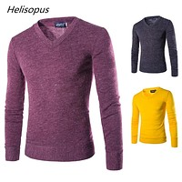 Helisopus Autumn Men Knitting Sweater V-Neck Striped Slim Fit Knit Pullovers Casual Winter Keep Warm Sweaters