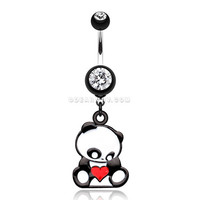 Panda Heart Belly Button Ring (Black)