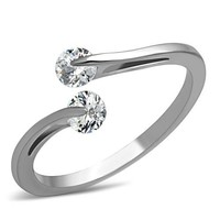 Lovely Bypass Floating CZ Stainless Steel Ring