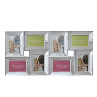 """27.5"""" White Trimmed Glass Encased Photo Picture Frame Collage Wall Decoration"""