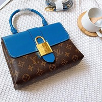 LV twist lock design Lockme bag handbag diagonal bag or shoulder bag blue
