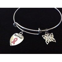 Pink Awareness Expandable Charm Bracelet Adjustable Bangle Expandable Bracelet Gift Breast Cancer (Other Awareness Ribbons Available)