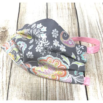 Grey Paisley Pattern Washable Face Mask - Protective Face Covering