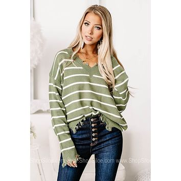 Who You Wanna Be Distressed Striped Sweater