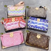 Louis Vuitton LV Hot sale color matching printed three-piece diagonal bag for women