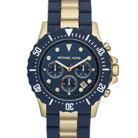 Michael Kors Oversize Two-Tone Navy/Golden Stainless Steel Everest Chronograph Watch
