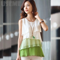 NEW 2016 Multi-Colors Blouse Shirts for Spring Summer Style Flounce Tiered Tops Round Neck Sleeveless Shirt
