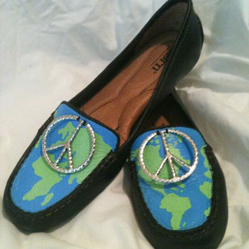 Peace on Earth Atlas Custom Hand Painted Globe Moccasin Loafers Map
