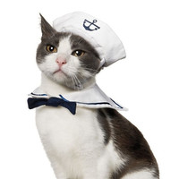 Small Dog Cat Kitten Puppy Pet Sailor Outfit Costume 2pcs Hat &Cape = 1929706884