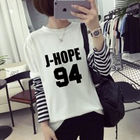 2017 Spring Autumn coat Women's BTS KPOP Korean version Cotton stripe Long sleeves Letter printing black White Sweatshirt