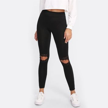 Lace Knee Cut Out Embroidered Mesh Insert Leggings