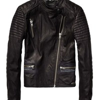 Leather Biker Jacket With Rock 'n Roll Illustration - Scotch & Soda