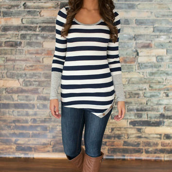 Casual Long Sleeve Striped Shirt--Black or Blue
