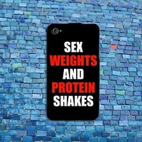 Funny Weights Protein Shakes Quote Case Rubber Cover iPhone iPod Black Red Fun