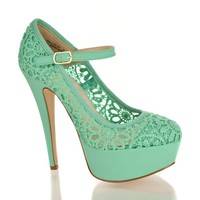 Sully's Women's Crochet Mary Jane Platform Pumps