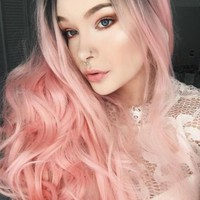 Long Black Root To Pastel Pink Bouncy Wavy Synthetic Lace Front Wig