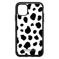 DistinctInk™ OtterBox Symmetry Series Case for Apple iPhone / Samsung Galaxy / Google Pixel - Black White Cow Dalmatian Spots