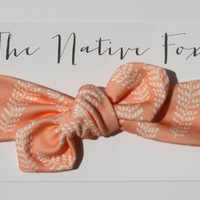Organic Cotton Knotted Baby Headband - Coral Feathers