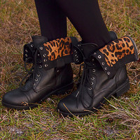 Lined In Leopard Combat Boots: Black
