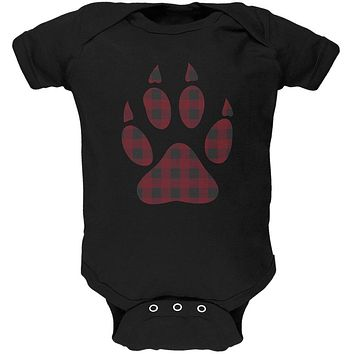 Autumn Buffalo Plaid Bear Claw Paw Soft Baby One Piece