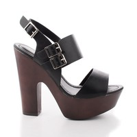 Rudy11 Black Pu By Breckelle's, Strappy Multi Buckle Faux Wooden Platform Chunky Heel