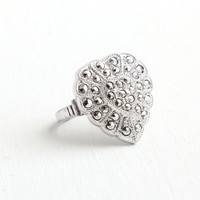 Sale - Vintage Art Deco Sterling Silver Marcasite Heart Ring- Size 6 1930s Hallmarked Theda Etched Filigree Love Jewelry