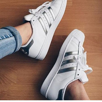 """""""ADIDAS"""" Trending Fashion Casual Sports Shoes Silver grey"""
