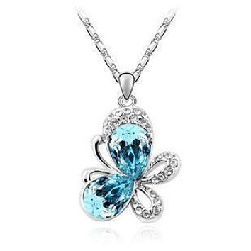 Butterfly Rhinestone Pendant & Necklace