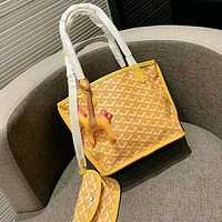 Goyard Popular Women Shopping Bag Leather Handbag Tote Shoulder Bag Purse Wallet Set Two-Piece Yellow