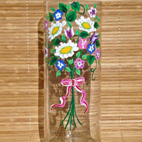 Hand Painted Vase With Daisies And Colorful Mixed Flowers
