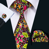 New Arrival Fashion Cotton Ties For Men High Quality Design Necktie Handkerchief Cuff links Set For Wedding Party