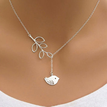 Lady Gorgeous Pendant Silver Gold Spring Bird Simple Chain Choker Charm Necklace Jewelry Gift = 1651270532