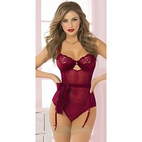 Provocative Padded Sexy Holiday Teddy Set with Waist Cinching Bow