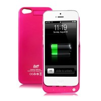 BXT® External Backup Rechargeable Extended Battery Charger Cases for iPhone 4/4S,iPhone 5/5S Mobile Phone/ALL MODELS COLLECTION!!! Portable Power Bank for Apple iPhone Cellphone/Multi-Option in Various Colors (Rose, 2600mah for iPhone 5/5S with Cover)