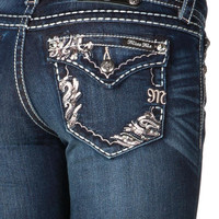 Miss Me Embellished border stitched Boot Cut Jeans