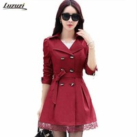 Double Breasted Trench Coat For Women