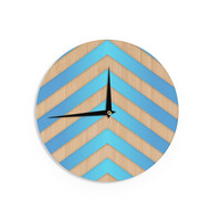 "Marta Olga Klara ""Turquoise Chevron"" Blue Brown Wall Clock"