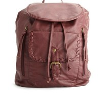 WHIP-STITCHED FAUX LEATHER BACKPACK