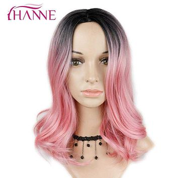 "HANNE 14"" Short Ombre Wavy Wig 1B#rose pink or blonde Heat Resistant Synthetic Skin Top Wigs For Black Women Daywear Or Cosplay Macchar Cosplay Catalogue"