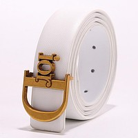 Dior Tide brand simple retro men and women smooth buckle belt White